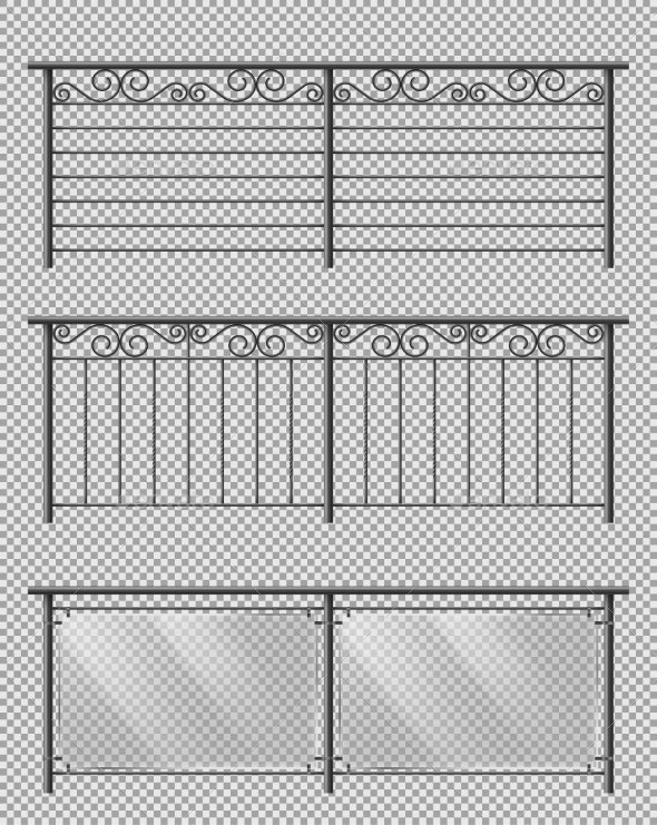 Metal and Glass Handrails Realistic Vector Set - Man-made Objects Objects