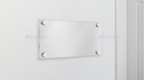 Empty Glass Name Plate 3D Realistic Vector - Man-made Objects Objects