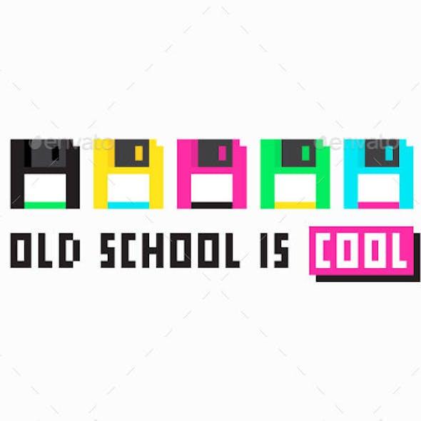 Retro Colorful Floppy Disk Pixel Art