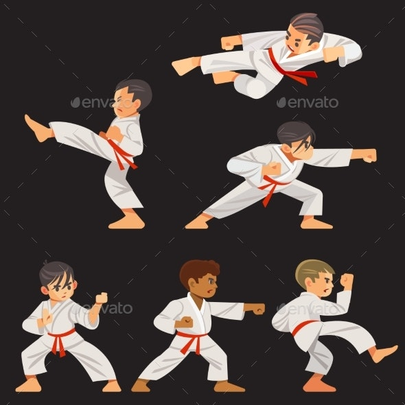 Set of Karate Boys - Sports/Activity Conceptual