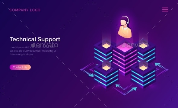 Technical Support or Online Assistant Isometric - Web Technology