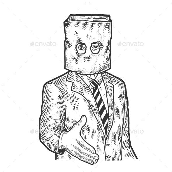 Businessman Paper Bag Lend Hand for Handshake