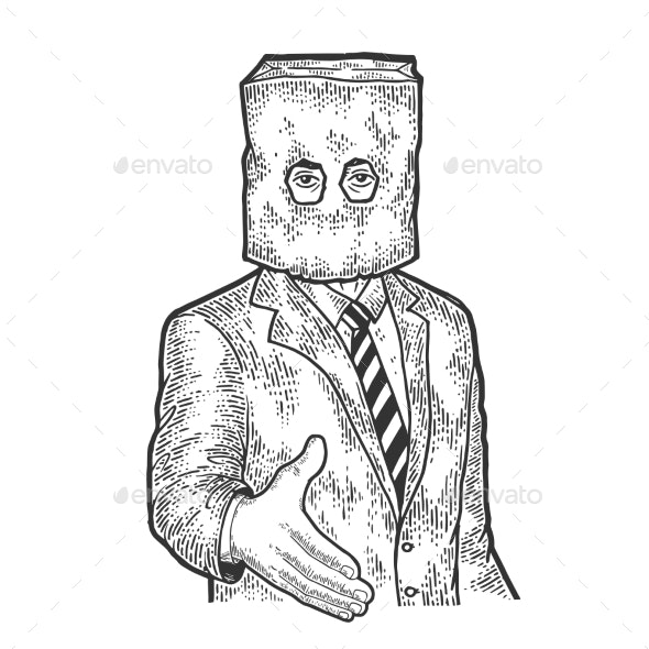 Businessman Paper Bag Lend Hand for Handshake - People Characters