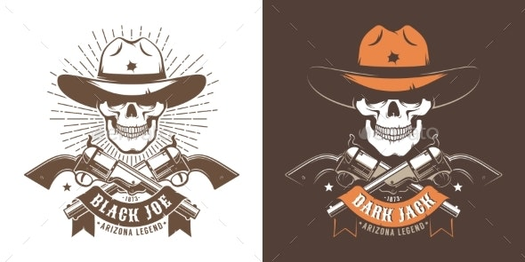 Cowboy Skull with Crossed Guns - Animals Characters