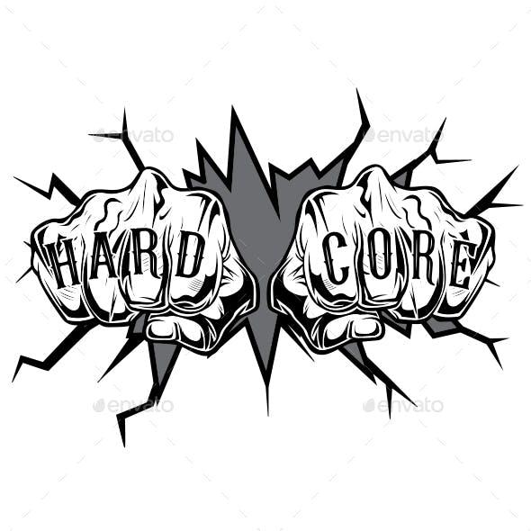 Punching Hand Hard Core Tattoo Vector