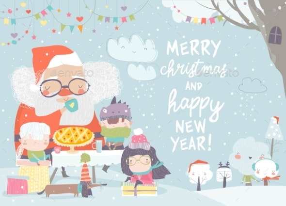 Santa Claus Drinking Tea with Happy Children - Christmas Seasons/Holidays