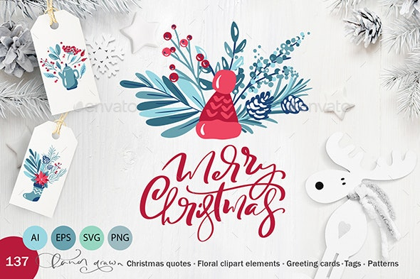 Christmas floral holiday elements - Objects Illustrations