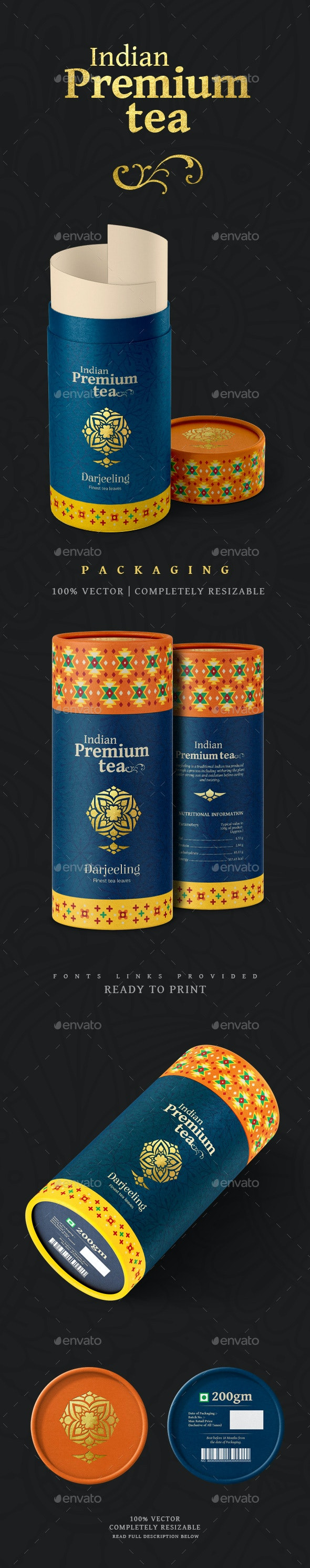 Indian Premium Tea - Packaging Print Templates