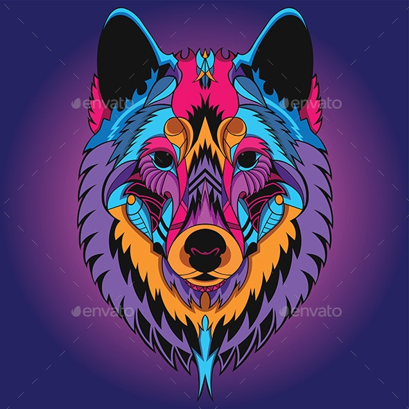 Wolf Head Neon Color - Animals Characters