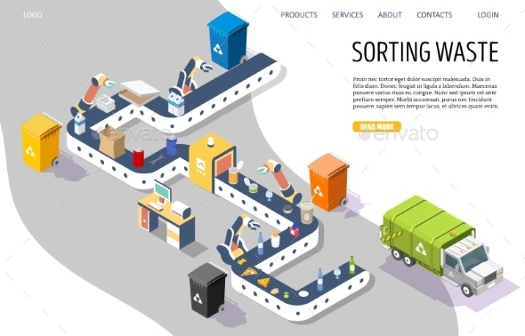 Sorting Waste Vector Website Landing Page Design - Industries Business