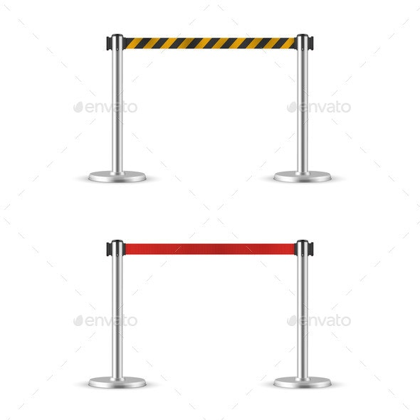 Retractable Belt Stanchion Set Portable Ribbon - Man-made Objects Objects