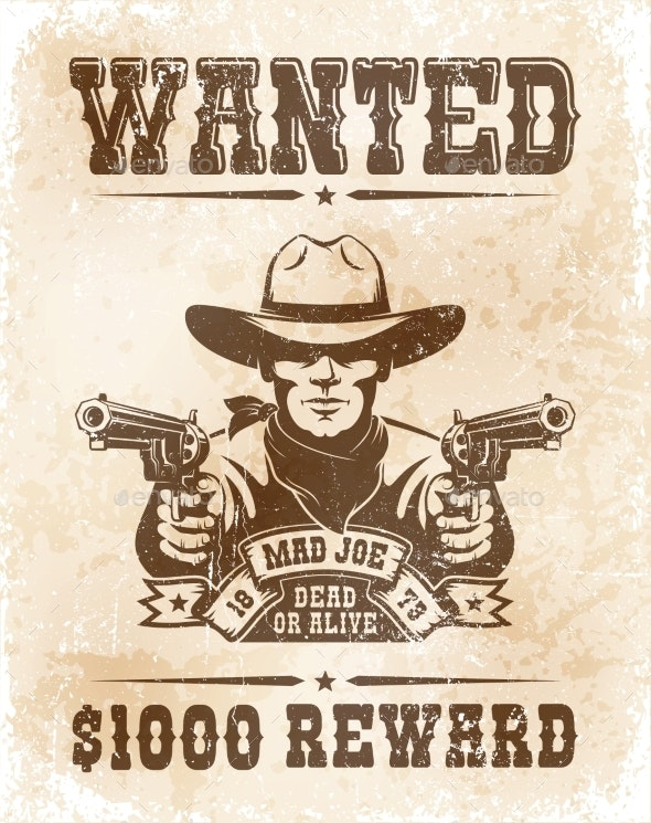 Cowboy Wanted Poster - Vintage Retro Style - Backgrounds Decorative