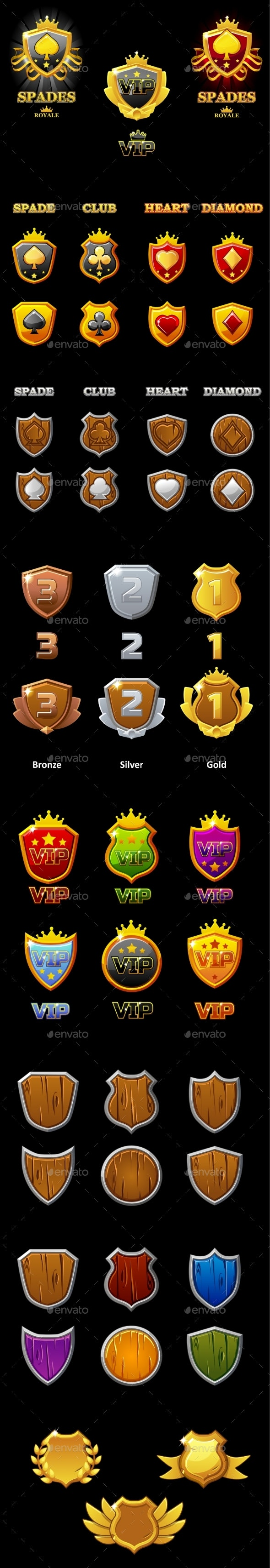Suits Deck of Playing Cards and VIP Logo on Shield - Miscellaneous Vectors
