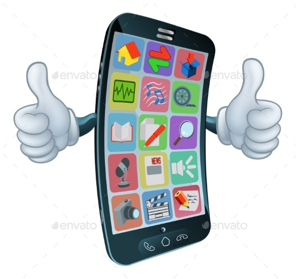 Cell Mobile Phone Mascot Cartoon Character - Communications Technology
