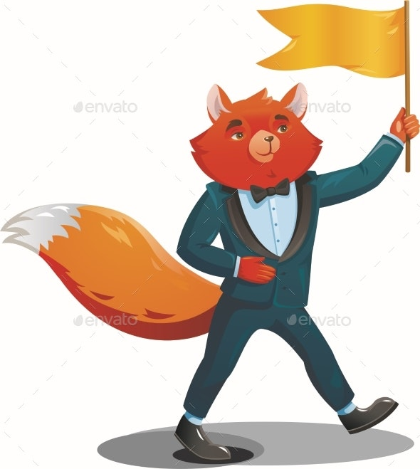 Fox Teacher in a Suit Comes with a Flag - Animals Characters