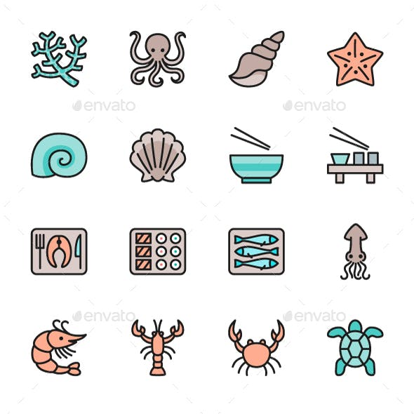 Set Of Fish And Seafood Color Line Icons. Pack Of 64x64 Pixel Icons
