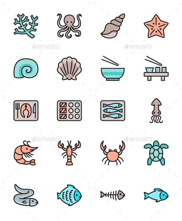 Set Of Fish And Seafood Color Line Icons. Pack Of 64x64 Pixel Icons - Animals Characters