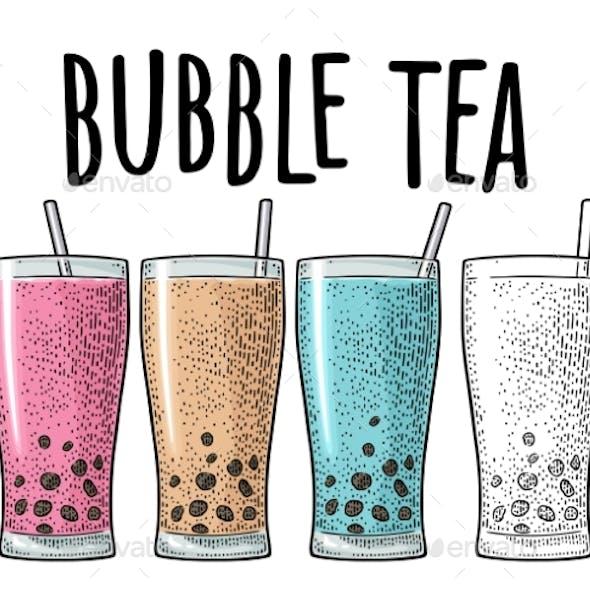 Bubble Milk Tea with Tapioca Pearl Ball in Glass