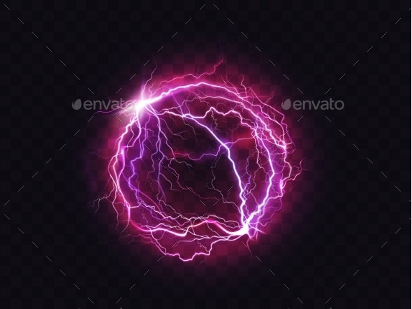 Electric Ball Lightning Circle Strike Impact Place - Objects Vectors