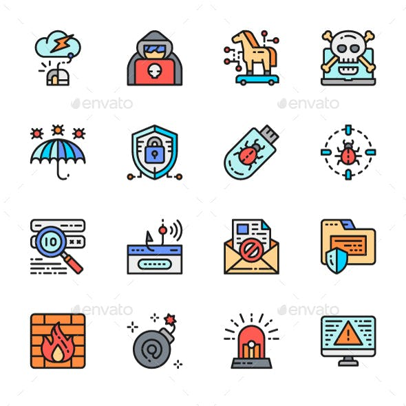 Set Of Cyber Security Color Line Icons. Pack Of 64x64 Pixel Icons