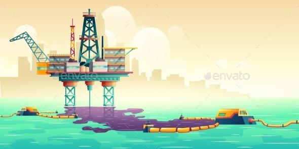 Oil Spill Liquidation Technology Vector Concept - Industries Business