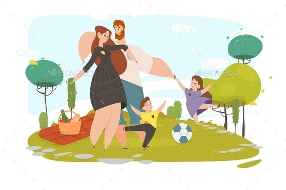 Happy Family Active Weekend Spare Time on Nature - Sports/Activity Conceptual