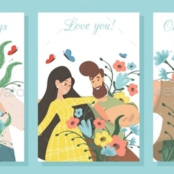 Set of Creative Banners for Loving Couple Dating