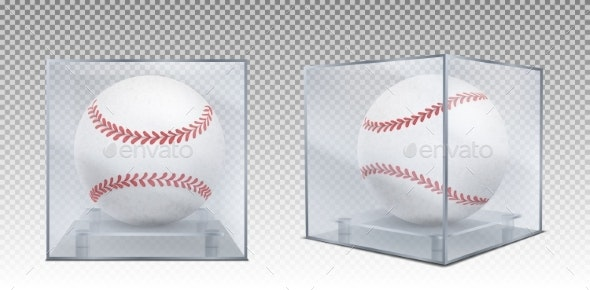 Baseball Balls in Glass Case Front and Corner View - Sports/Activity Conceptual