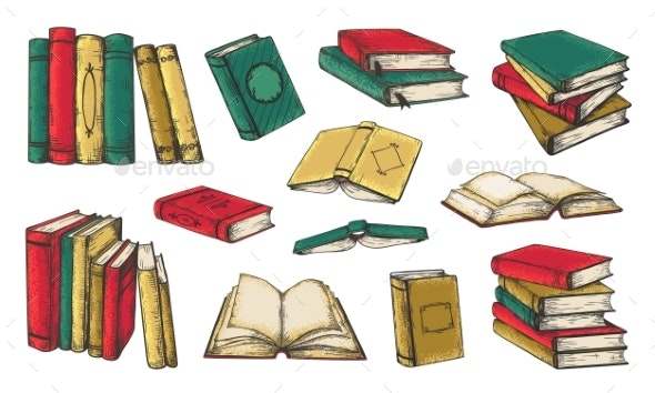 Hand Drawn Books - Man-made Objects Objects