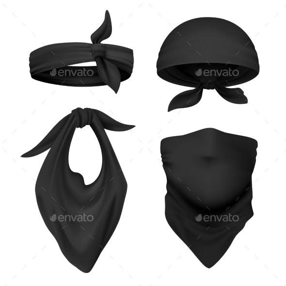 Realistic Black Bandanna