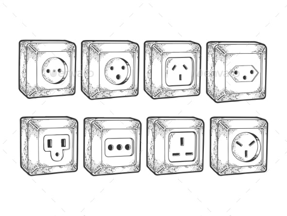 Power Sockets of Different Countries Sketch Vector - Industries Business