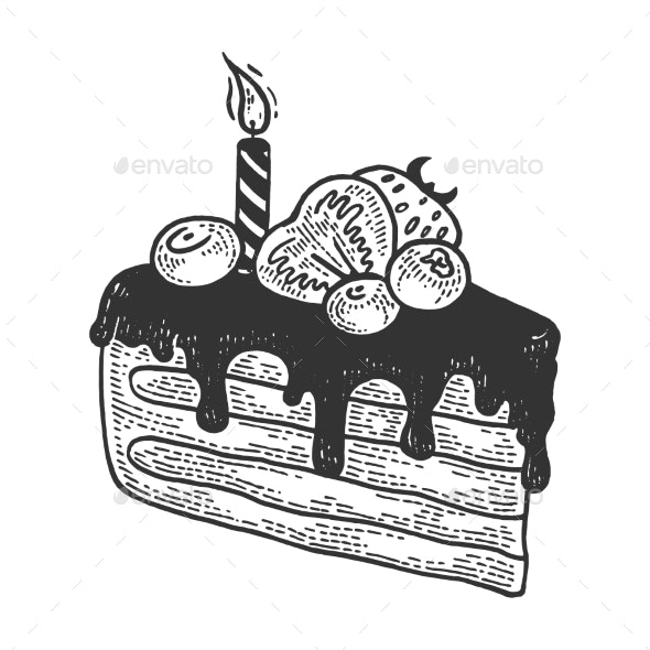 Birthday Cake Sketch Engraving Vector - Food Objects