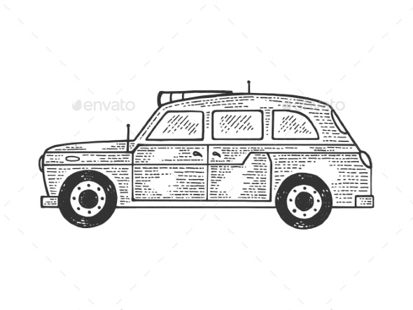 London Taxi Cab Sketch Vector Illustration - Man-made Objects Objects