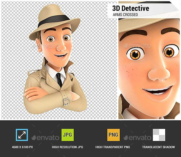 3D Detective with Arms Crossed - Characters 3D Renders