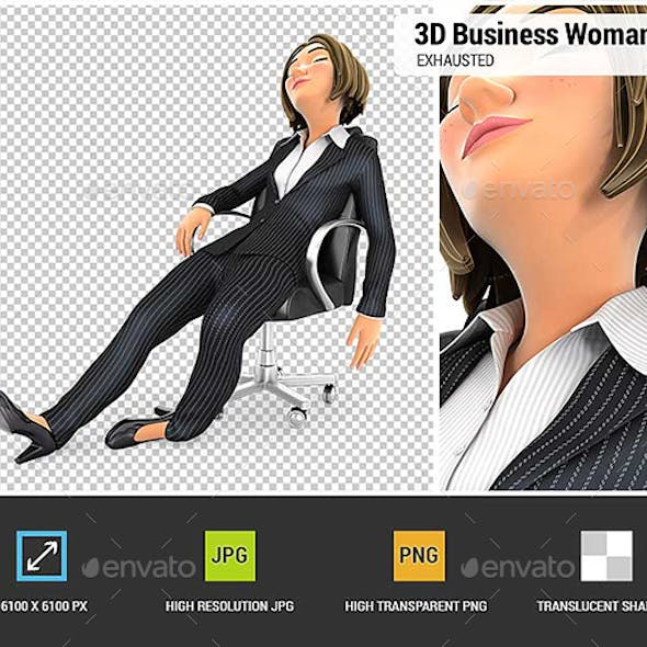 3D Exhausted Business Woman Sleeping in Chair