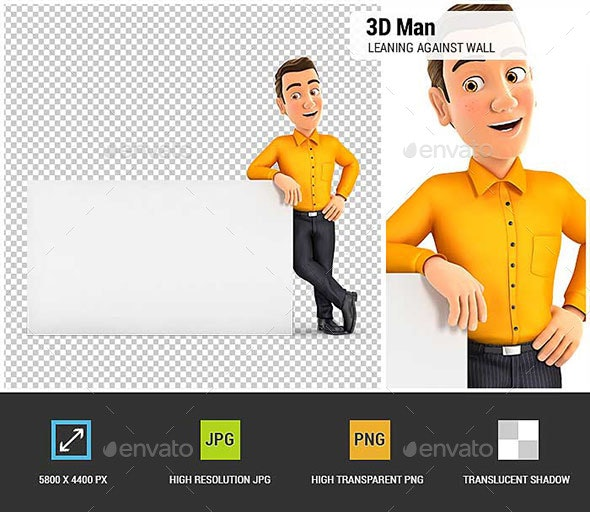 3D Man Leaning Against White Wall - Characters 3D Renders