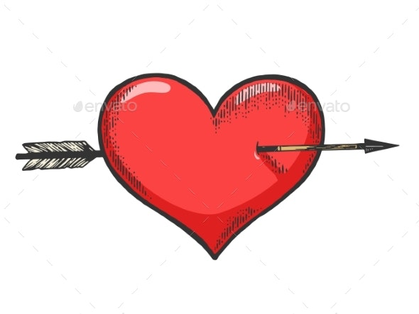 Heart Symbol Pierced with Arrow Sketch Engraving - Miscellaneous Vectors