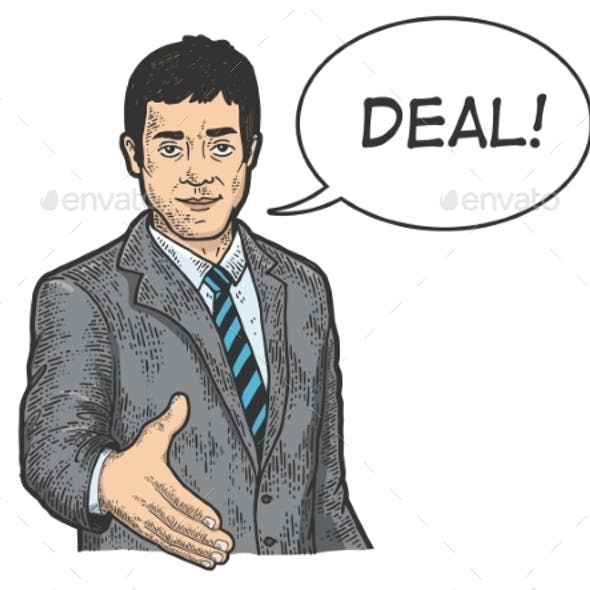 Businessman Lend Hand for Handshake Sketch