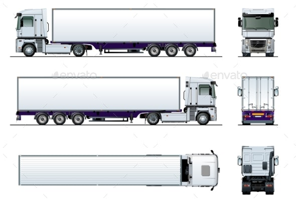 Vector Cargo Semi Truck Mockup Isolated on White - Man-made Objects Objects
