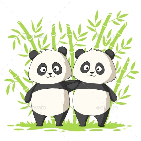 Two Pandas - Animals Characters