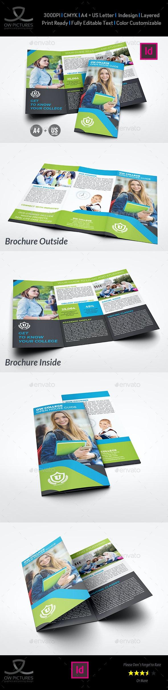 College Open House Tri-Fold Brochure Template - Brochures Print Templates
