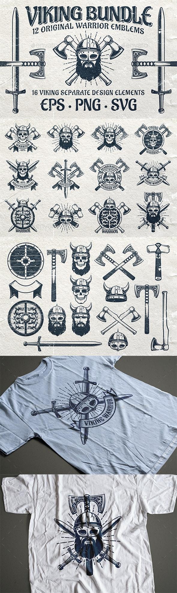 Viking Emblem Bundle - Tattoos Vectors