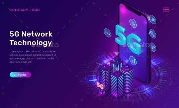 5G Network Technology Isometric Concept - Web Technology