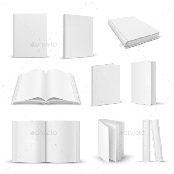 Set of Isolated Opened and Closed Realistic Book - Miscellaneous Vectors