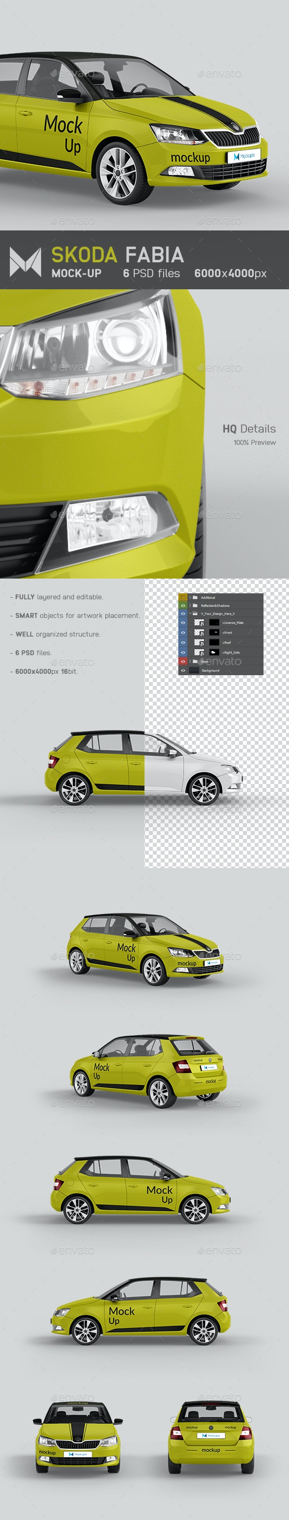 Skoda Fabia Car Mockup - Vehicle Wraps Print