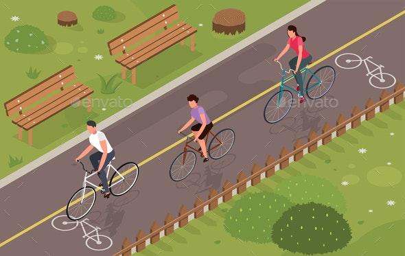 Bikes Isometric Illustration - Sports/Activity Conceptual