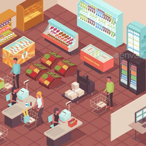 Supermarket Isometric Background