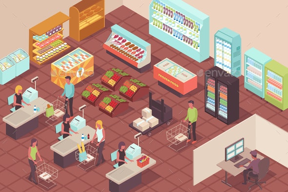 Supermarket Isometric Background - Miscellaneous Vectors