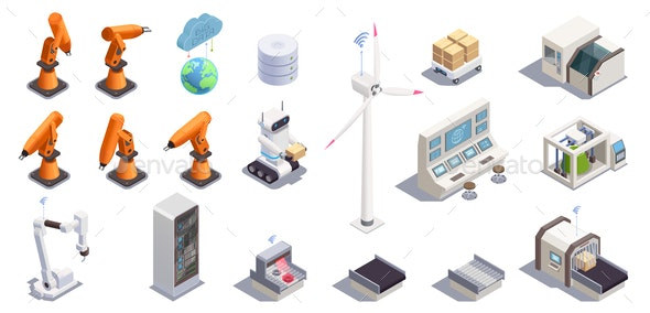Smart Industry Icons Set - Computers Technology