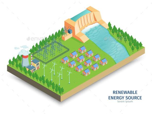 Renewable Power Isometric Composition - Flowers & Plants Nature